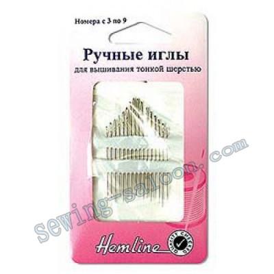 Иглы для вышивания тонкой шерстью, № 3-9 (200,39)