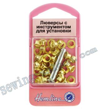 Люверсы с инструментом  для установки, золото (435 G)
